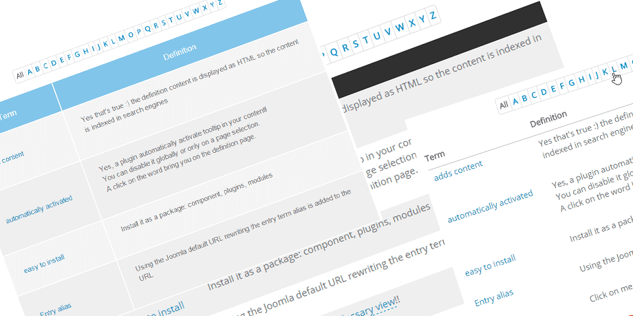 glossary themes responsive