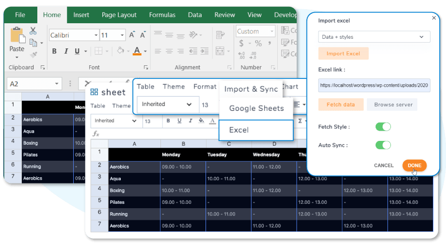 Excel Sheets Import and Export