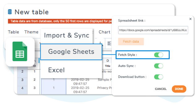 Import Google Sheets data only or content and style