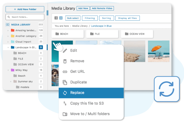 Replace and update media in your media manager and content