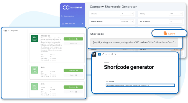 Shortcode generator for file download listing