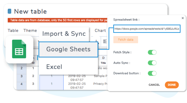 Synchronize table data with a server Google Sheet