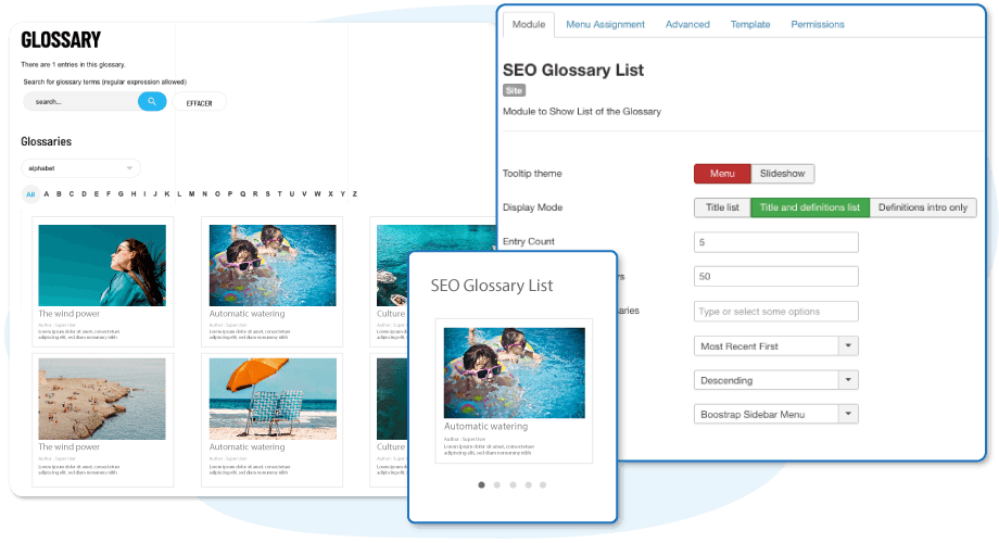 Themes for Glossaries and a Module for Joomla