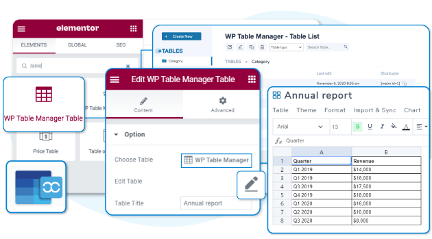 WP Table Manager som tabel maker for Elementor